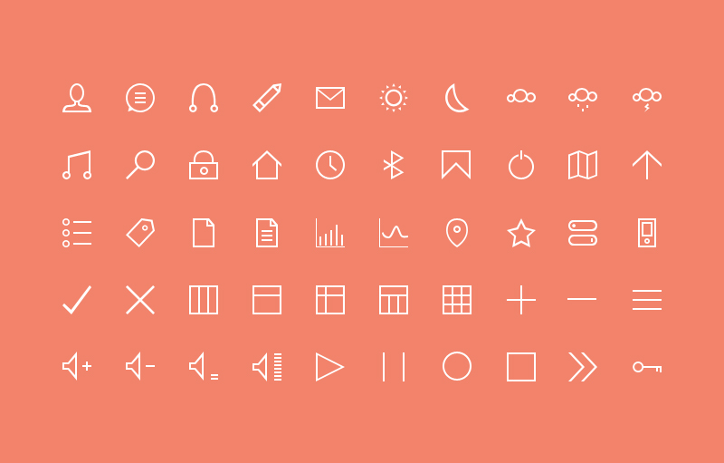 Free pixel perfect thin icons