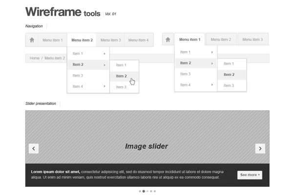 Webpage Wireframe Stencil elements